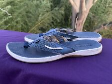 SPERRY TOP SIDER Sandals Thongs LEATHER NAVY BLUE Womens Shoes Size 7 ❤️sj17j15