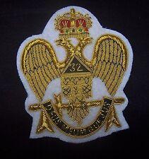 Masonic Mason Freemasonry Rite Eagle Bullion Badge Patch Master Lodge 32 Degree