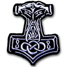 Thor Hammer Patch Iron On Biker Sew Badge Viking Raven Emblem Mjolnir Metal MC