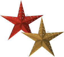 Twinpack Red + Golden Christmas Paper Star 'Star Cutting' 24 Inches w 10 LED