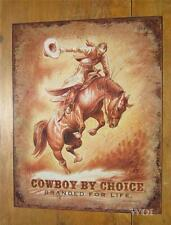 Western Cowboy Rodeo Rider Bronco Horse Old West Metal Sign Wall Picture Poster