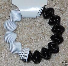 Metal Slinky Bracelet Black White Stretch Deco Mod Optic New