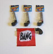 3 NEW BANG GUN PISTOLS WITH FLAG COMEDY PROP GUNS GAG GIFT MAGIC TRICK