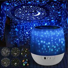 Kids Star&Moon Night Light Led Rotating Starry Projector Nursery Lamp Room Decor