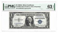 """1935A $1 """"MULE"""" SILVER CERTIFICATE, PMG CHOICE UNCIRCULATED 63 EPQ, S/A BLOCK, 2"""