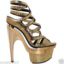 New VERSACE Gold Leather Triple Platform Sandals Shoes 41 - 11