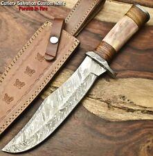 Cutlery Salvation Handmade Damascus Steel Blade Hunting Bowie Knife | Camel Bone