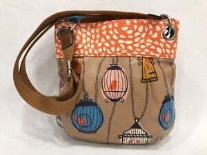 Fossil  Women's Coated Canvas Bird In Cage Crossbody Tote Bag