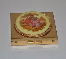 Vintage compact mirror Fragonard porcelain makeup case Victorian style