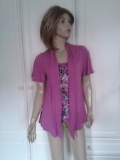 CLASSIC @ MARKS & SPENCER DOUBLE LAYERED TOP SIZE 10 CERISE & MULTI