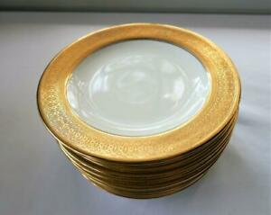 ROYAL CAULDON ENGLISH BONE CHINA GOLD ENCRUSTED BREAD & BUTTER PLATES SET 12