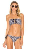 NEW Tavik Mirage Swim Top Size M Black & White Floral Lace Up Bandeau Bikini