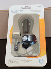 AT&T Car Charger for Iphone 4 & 4S  w/USB Port 41545 USB 30 Pin iPod NEW