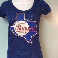 Texas Rangers Jersey Shirt Burnout Fabric Womens XS NEW
