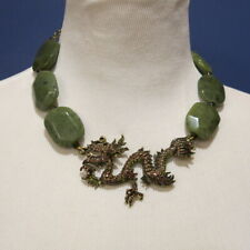 Heidi Daus  Dragon Necklace w Simulated Jade Stones