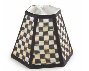 RETIRED Mackenzie Childs COURTLY CHECK Upscale Hex Lamp CHANDELIER SHADE m21au
