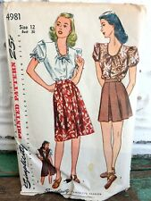 1940s Simplicity Shorts Skirt Blouse Jumper Sewing Pattern Size 12 Bust 30