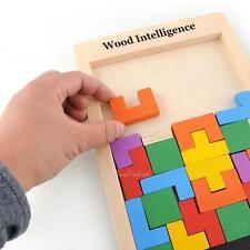 Wooden Tangram Brain Teaser Puzzles Toy Tetris Game Educational Kids Toy