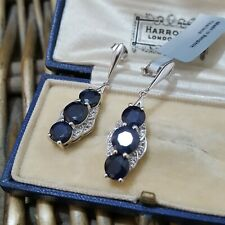 GEMS TV STERLING SILVER EARRINGS, NATURAL SAPPHIRE AND WHITE TOPAZ DANGLE, BNWT