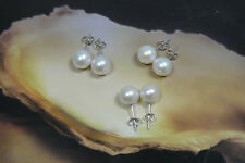 8.8-9.5mm Authentic Freshwater Pearl Earrings 925 Sterling Silver Clasps Posts