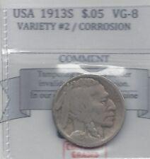 *1913S* Usa, Five Cent, Buffalo Nickel, Variety #2, Corrosion