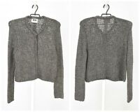 Womens ACNE Knit Cardigan Jumper Sweater Grey Wool & Alpaca Blend Snap Size M