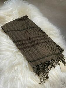 Authentic BNWT Burberry 200 x25 Wool & Cashmere Long Quilt Scarf Khaki Green