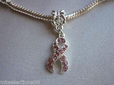 1 x S/Plated Pink Rhinestone Cancer Awareness Ribbon Charm fit European Bracelet