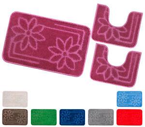 Alfombra Baño Flores Conjunto Set 3 Piezas Suave Absorbe Antideslizante Lavable