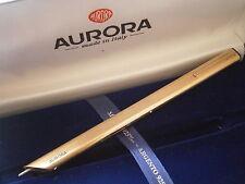 AURORA THESI PENNA A SFERA IN ARGENTO 925 e ORO VERMEIL '01 + SCATOLA Silver Pen