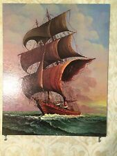 "Andres' Orpinas Painting ""Spanish Caravelle"", 16"" x 20"", Signed Print"