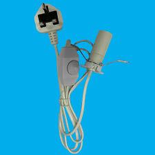 E14 White UK Plug Light Bulb Holder Inline Dimmer Switch Desk Table Salt Lamp