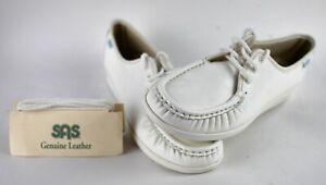 NEW SAS Magic Handsewn White Comfort Round Toe Wedge Loafers Womens US 10