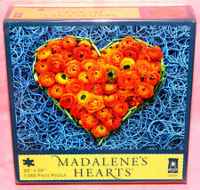 New Sealed BePuzzled Madalene's Hearts 1000 Piece Puzzle Rose Flower Rubber Band
