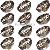 Unisex Vintage Wooden Beads Constellation Zodiac Adjustable Leather Bracelet