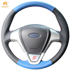 Black Blue Leather Steering Cover for Ford Fiesta 2008-2013 Ecosport 2013-2016