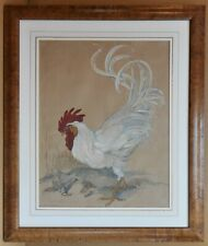 Strutting White Cockerel Original watercolour by listed artist Daisy Smith c1930