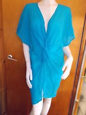 M&S Short Sleeve SemiSheer Knot Front Kaftan Beach CoverUp S 8-10 Turquoise BNWT