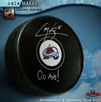 "CALE MAKAR Signed Colorado Avalanche Puck - ""Go Avs!"""