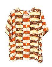 Hamells Brown Orange Geometric Print Short Sleeve Chiffon Top Blouse Size 16