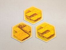 Settlers of Catan hex tiles - 5th edition - Wheat/Field - set of 3
