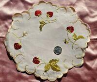 "Antique Silk Society Work Hand Embroidered Strawberries On Linen~7.5"" Round"