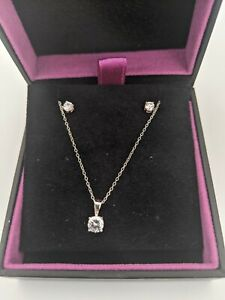 H Samuel Sterling Silver and Cubic Zirconia Earrings and Necklace Gift Set