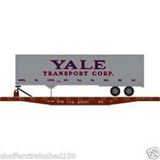 Athearn  # 72427 50' Flat w/40' Trailer, TT (Yale Trans) # 475197  RTR HO  MIB
