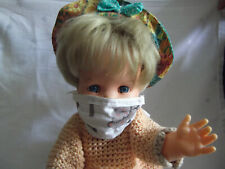 Mund- und Nasenschutz, handgenäht mit Apfelbäumen für Puppen und Teddy