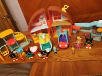 Cbeebies Bing Bunny House Playset Playground Ice Cream Truck Car Shop 8 Figures