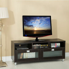 Home Entertainment TV Stand Cabinet Media Wood Glass Console Storage Furniture