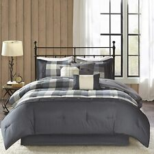 Madison Park Ridge Queen Size Bed Comforter Set Bed in A Bag - Grey, Plaid – 7 P