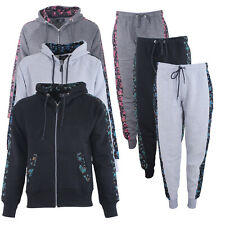 New Womens Floral Side Panel Tracksuit Set Ladies Jogging Bottoms Loungewear