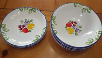 Fruit Fancy  Salad Plates Soup cereal bowls 8 pcs circa 1996 International China